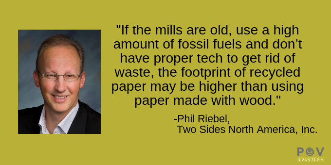 The Footprint of Recycled Paper May Be More Than Non-Recycled.