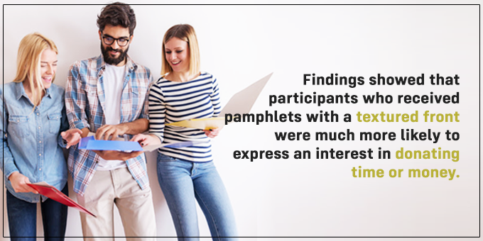 Participants with textured pamphlet fronts were more likely to express further interest.